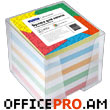 Memo cube with plastic box, 90mm x 90mm, 700 separate pages, white., colorful.