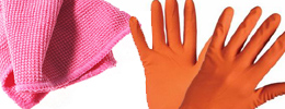 Gloves, sponges, towels